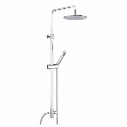Kulatý sprchový sloup z mosazi s ruční sprchou vyrobený v Itálii - Amadeo