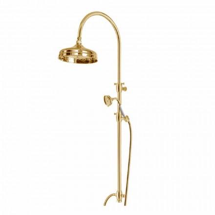 Mosazný sprchový sloup s kulatou sprchovou hlavicí a ruční sprchou vyrobené v Itálii - Brillo