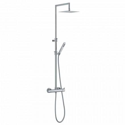 Sprchový sloup z chromované mosazi s pružnou hadicí a ruční sprchou vyrobené v Itálii - Griso