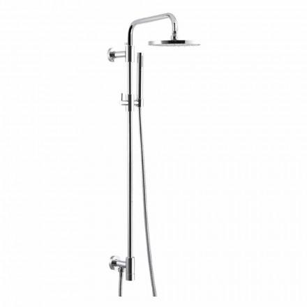 Sprchový sloup z chromované mosazi s ocelovou sprchovou hlavicí Made in Italy - Daino