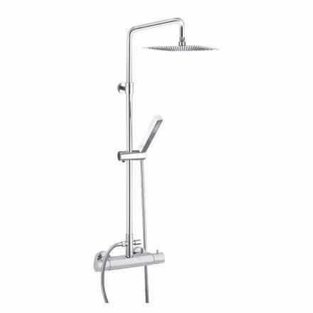 Sprchový sloup z chromované mosazi se čtvercovou sprchovou hlavicí Made in Italy - Studio