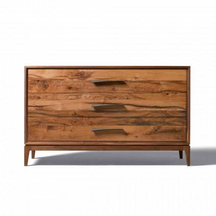 Dresser 3 zásuvky vlašský ořech moderní design, L 131 x Š 55 x H 80 cm, Sandro