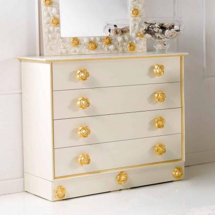 Dresser 4 zásuvky design s dřevěnými knoflíky ve tvaru růže Renoir