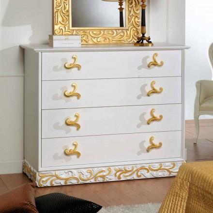 Design Komoda 4 dřevěné zásuvky Kush, made in Italy