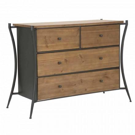 Designový komoda s 5 zásuvkami z jedlového dřeva a železa - Doran