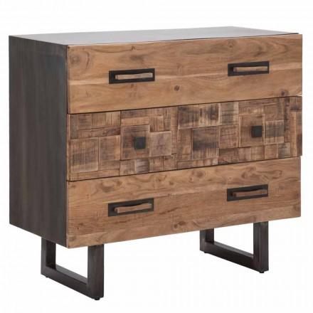 Komoda z akátového dřeva a železa se 3 zásuvkami moderního designu - smaragd