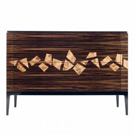Designový ebenový dřevěný komoda 4Cassetti Grilli Zarafa vyrobený v Itálii