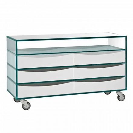 Dresser v Extraclear Glass se šesti zásuvkami z bílého dřeva v Itálii - Ganzo