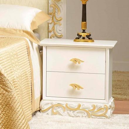 Noční 2 dřevěné zásuvky s Kush zlatými dekoracemi, vyrobený v Itálii
