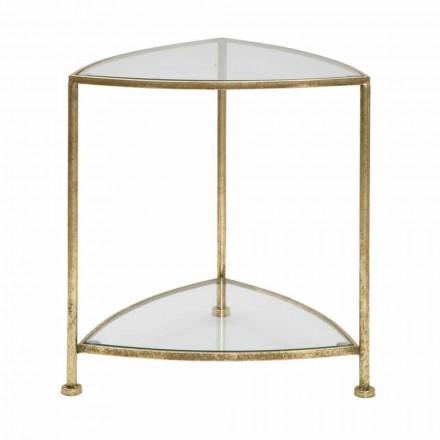 Moderní designový trojúhelníkový noční stolek ze železa a skla - Kira