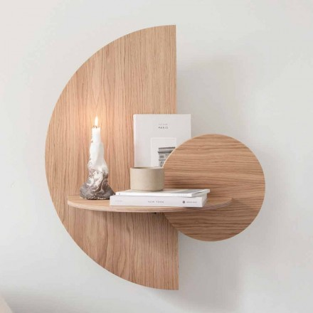 Designový noční stolek skládající se ze 3 modulárních panelů v překližce dub - Ramia