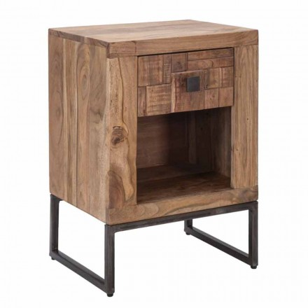 Designový noční stolek se zásuvkou z akáciového dřeva a železa - Dionne