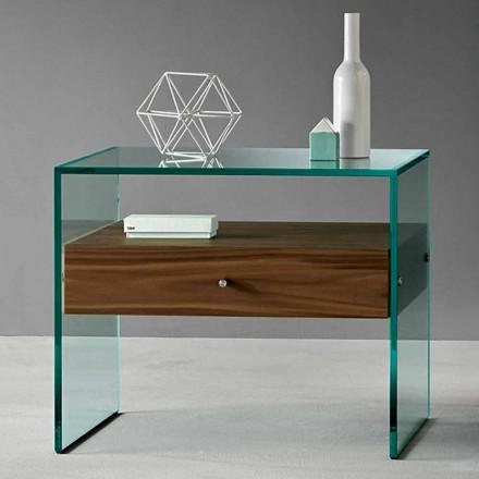 Moderní designový stolek z extra jaderného skla vyrobeného v Itálii - Segreto
