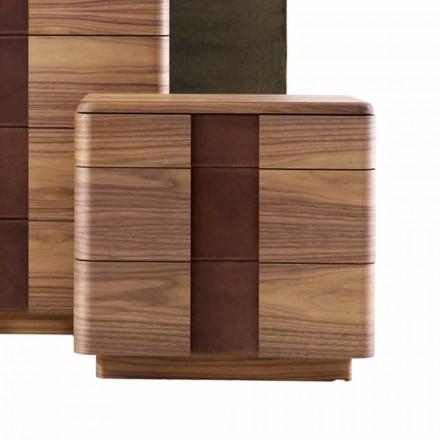 Noční stolek z masivního dřeva moderního designu Grilli York vyrobený v Itálii