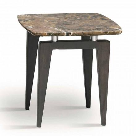 Mramorový noční stolek s dřevěnou konstrukcí, vysoká kvalita vyrobená v Itálii - Raise