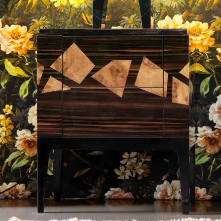 Noční stolek v ořechovém a ebenovém dřevě Grilli Zarafa vyrobený v Itálii