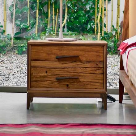 Současná noční stolek 2 zásuvky starožitný dub, P L 60 x 42 cm, Margo