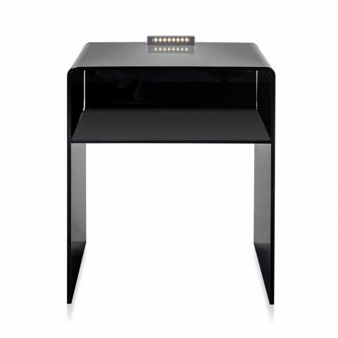 Černá noční stolek s LED světla svítí na Tocco Adelia, made in Italy