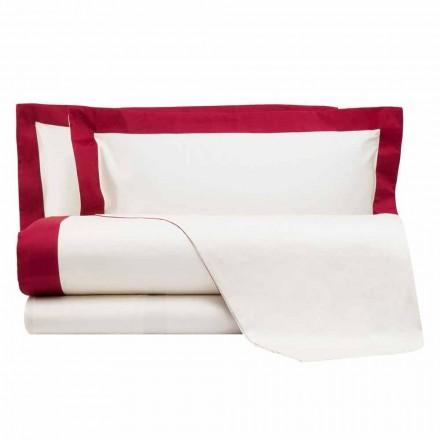 Saténový set pro manželskou postel s barevnými okraji - hyacint