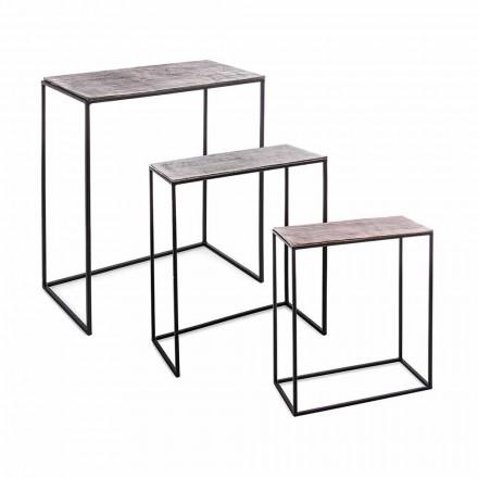 Složení 3 konferenční stolky z hliníku a oceli Homemotion - Salvio