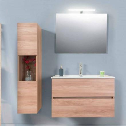 Koupelnová skříňka 90 cm, umyvadlo Wah, zrcadlo a sloup - Becky