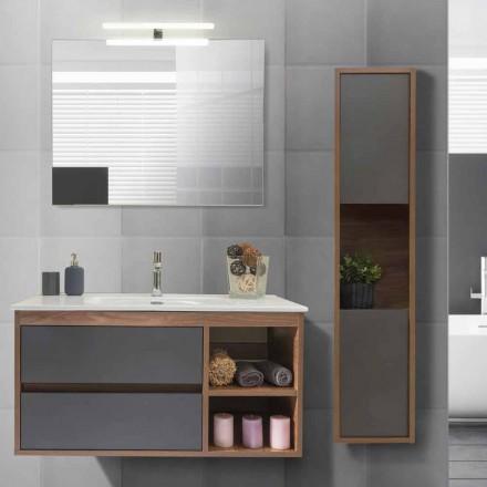 Koupelnová skříňka 100 cm, umyvadlo, zrcadlo a sloupek - Becky
