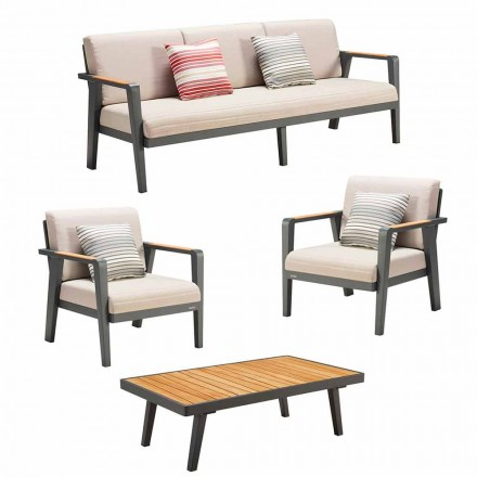 Venkovní složení 3místná pohovka, 2 křesla a konferenční stolek - Moira