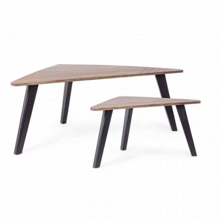 Složení 2 moderních dřevěných konferenčních stolků Homemotion - Nigola