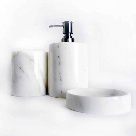 Složení 3 koupelnových doplňků z leštěného mramoru vyrobené v Itálii - Trevio