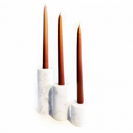Složení 3 svícnů v bílém mramoru Carrara vyrobené v Itálii - Astol