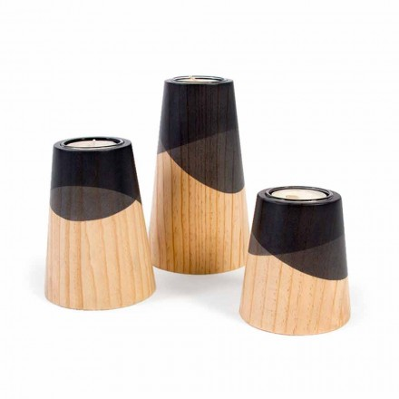 Složení 3 moderních svícnů z masivního borového dřeva - bílé
