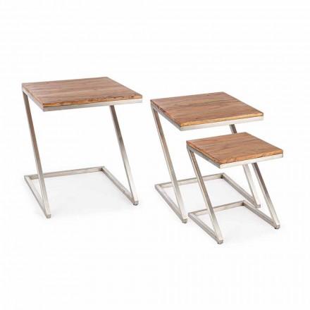 Složení 3 hranatých dřevěných konferenčních stolků Homemotion - Fonzi