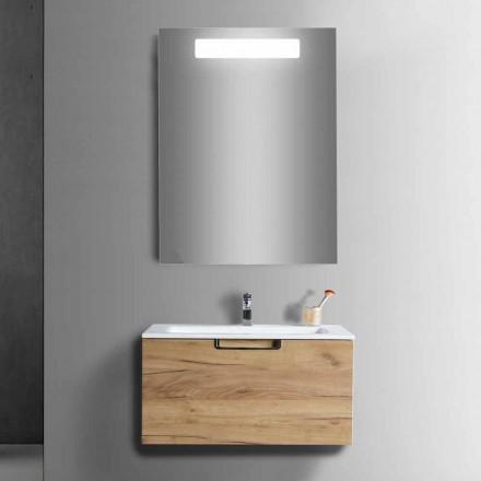 Koupelnová skříňka ve skříni ve dřevě a moderní designové zrcadlo - Gualtiero