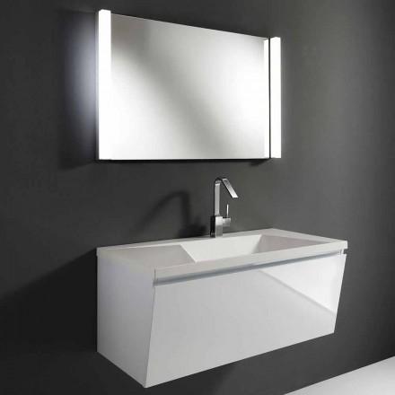 Bílá moderní pozastavená koupelnový nábytek složení s LED zrcadlem - Desideria