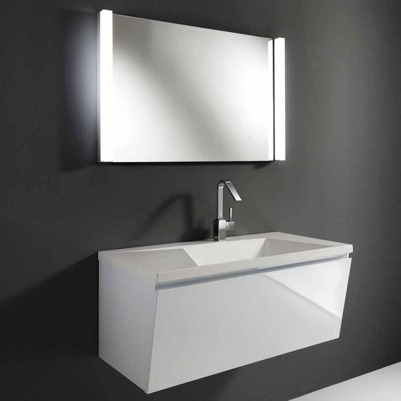 Bílý moderní design pozastavený koupelnový nábytek složení se zrcadlem - Desideria