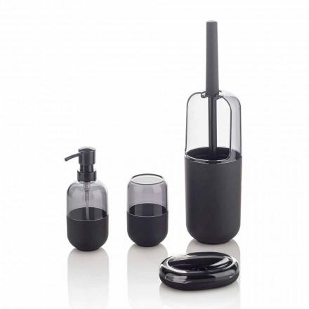 Moderní složení koupelnových doplňků z plastu a černé pryže - Noto