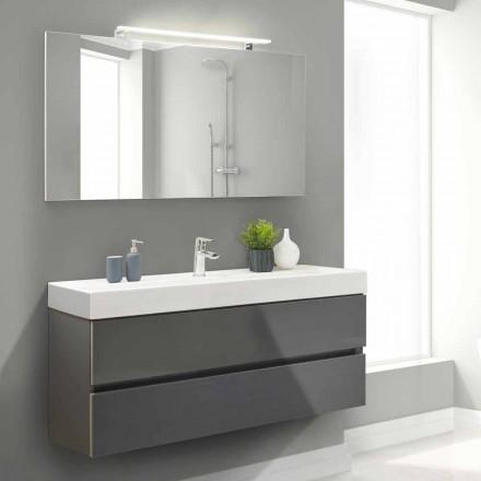 Koupelnová skříňka 140 cm, umyvadlo a zrcadlo - Becky