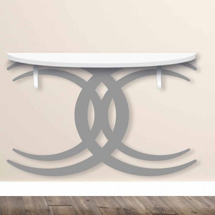 Nástěnná konzole pro moderní design v bílé a šedé dřevo - Coco