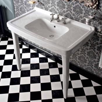 105 cm Vintage bílá keramická koupelna s nohama, vyrobeno v Itálii - Marwa