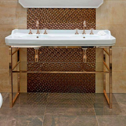 Koupelnová konzole L 135 cm s dvojitou miskou v keramice s nohama - Nausica