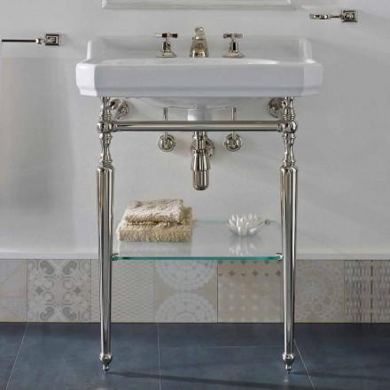 Keramická koupelnová konzola s kovovými nohami vyrobená v Itálii Nausica
