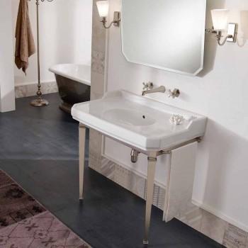 90 cm Vintage koupelna Console, White Ceramic, s nohama Made in Italy - Nausica