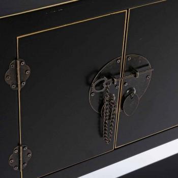 Bílá nebo černá konzola z MDF se 2 dveřmi a 6 zásuvkami Vintage Design - Ginepro