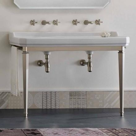 Koupelnová konzole L 135 cm s dvojitou miskou v keramice Vyrobeno v Itálii - Nausica