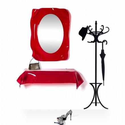 Konzole moderní design v červené barvě z plexiskla transparentní pat. přehodil přání