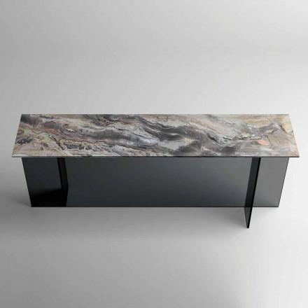 Designová konzole s mramorovou deskou a skleněnou základnou vyrobené v Itálii - Molino