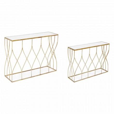 Elegantní konzole z oceli a skla moderního designu a Glamour 2 kusy - Irene