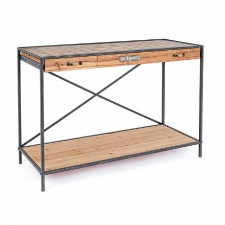 Konzolový displej z borového dřeva a skla, průmyslový styl - Frigerio