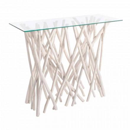 Consolle z běleného teakového dřeva a luxusní designové skleněné desky - Francesca