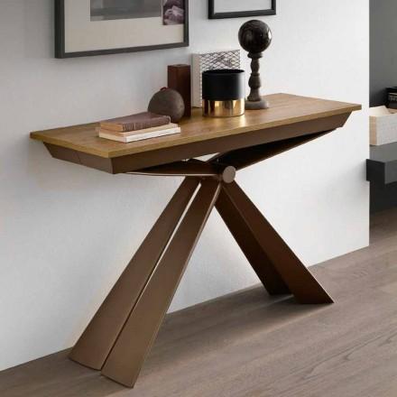 Stolní konzola ze dřeva a kovu rozšiřitelná až na 295 cm Made in Italy - Timedio